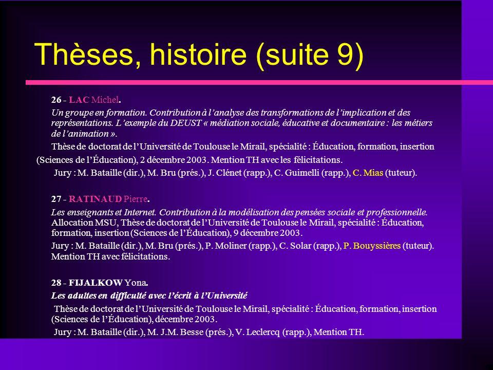 Thèses, histoire (suite 9) 26 - LAC Michel. Un groupe en formation.