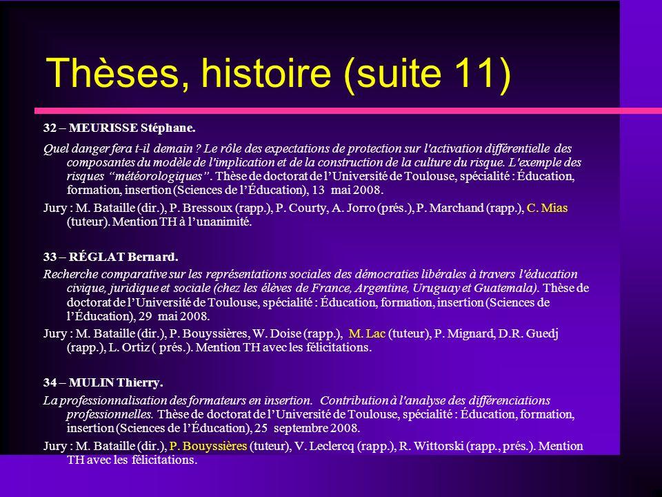 Thèses, histoire (suite 11) 32 – MEURISSE Stéphane.