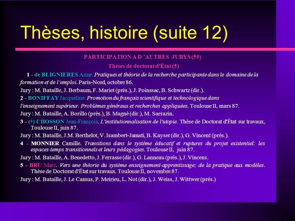 Thèses, histoire (suite 12) PARTICIPATION A D AUTRES JURYS (59) Thèses de doctorat d État (5) 1 - de BLIGNIERES Anne.