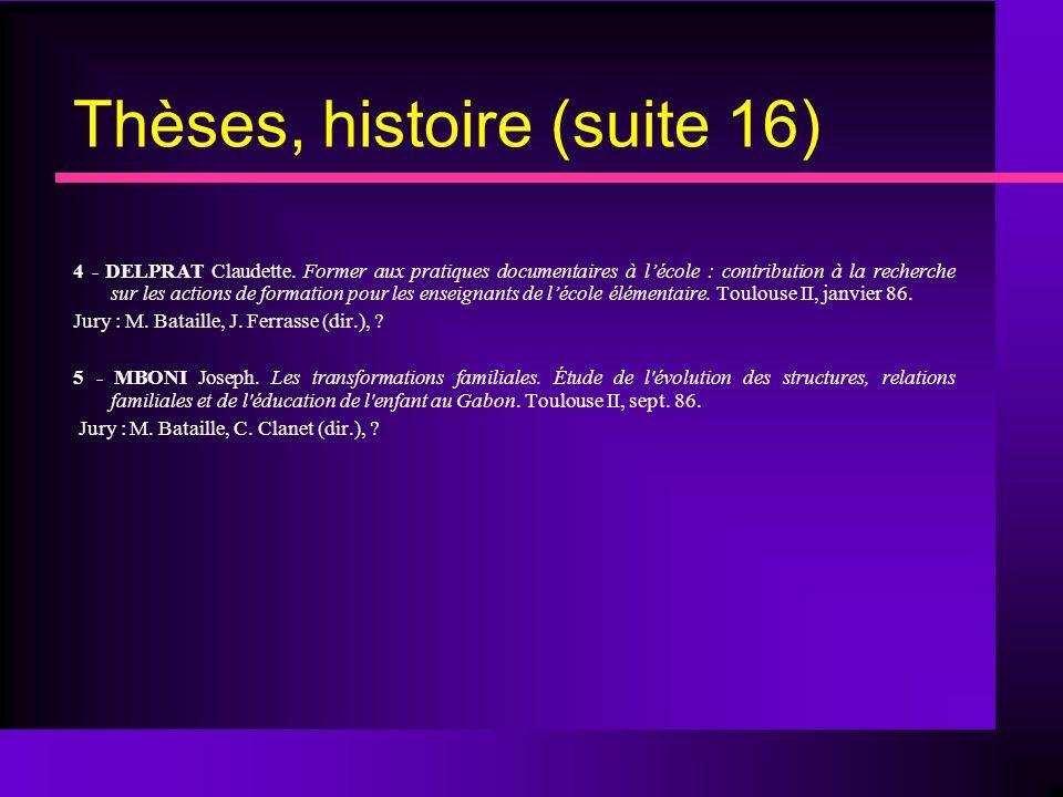 Thèses, histoire (suite 16) 4 - DELPRAT Claudette.