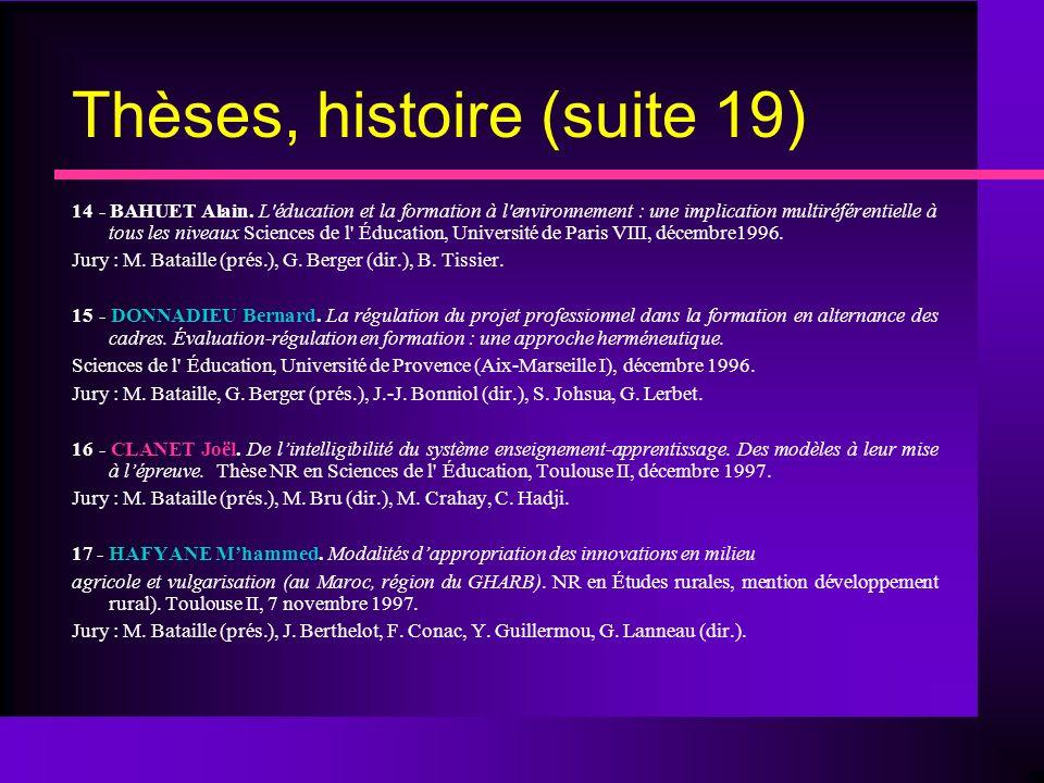 Thèses, histoire (suite 19) 14 - BAHUET Alain.