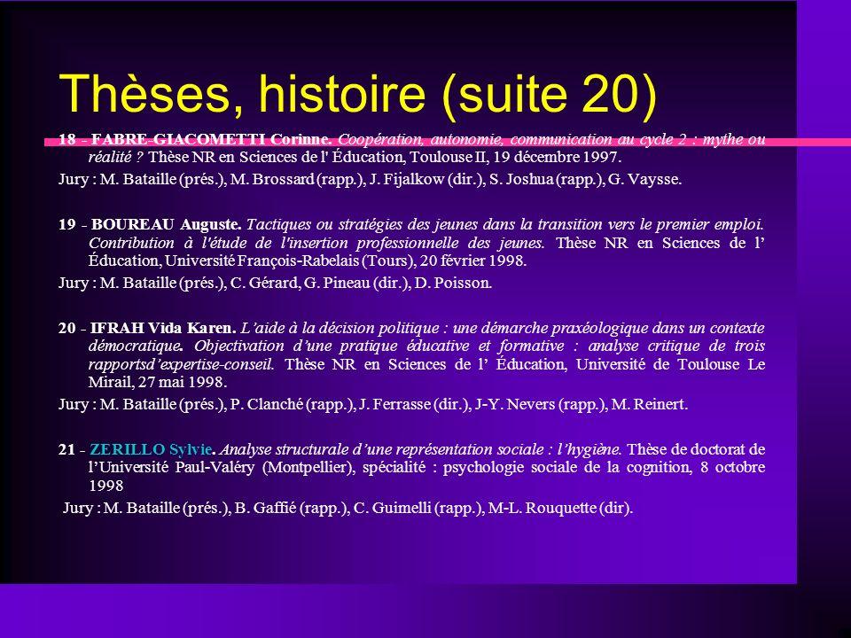 Thèses, histoire (suite 20) 18 - FABRE-GIACOMETTI Corinne.