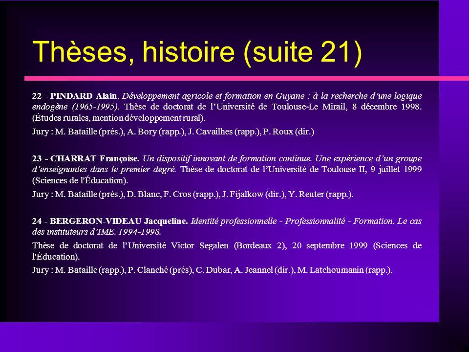 Thèses, histoire (suite 21) 22 - PINDARD Alain.