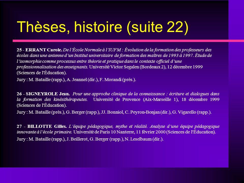 Thèses, histoire (suite 22) 25 - ERRANT Carole.