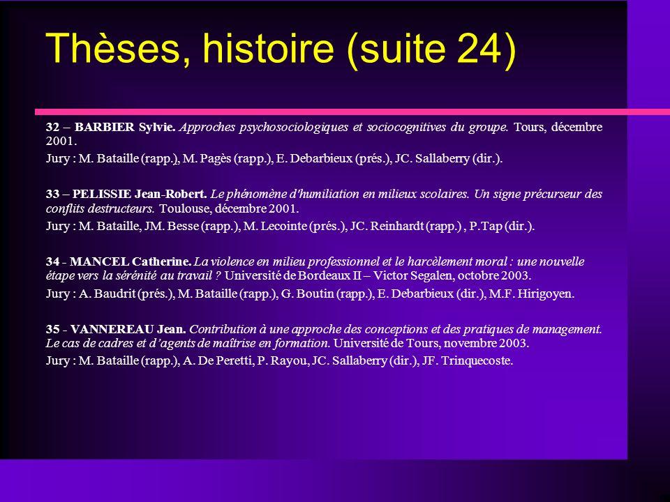Thèses, histoire (suite 24) 32 – BARBIER Sylvie.