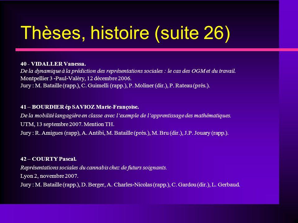 Thèses, histoire (suite 26) 40 - VIDALLER Vanessa.