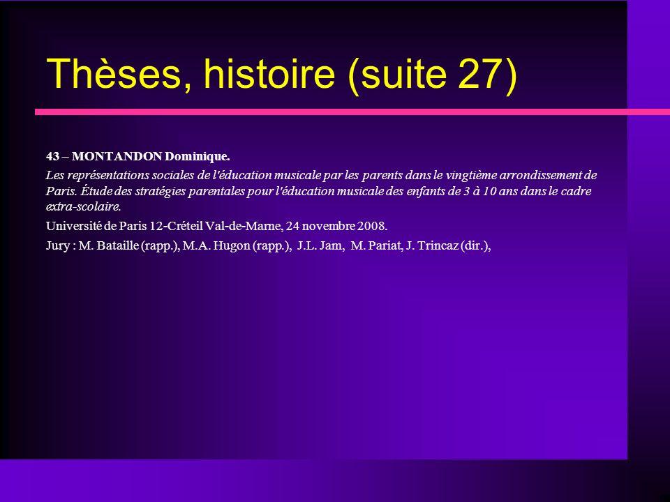 Thèses, histoire (suite 27) 43 – MONTANDON Dominique.