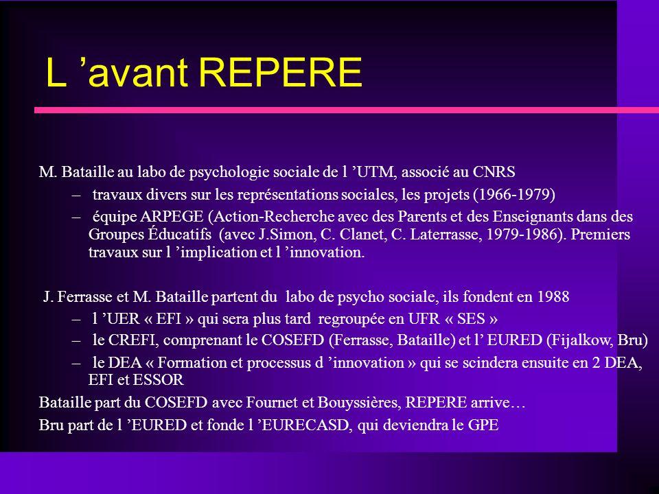 Les statutaires à l UTM Michel BATAILLE (PR, doctorat 3ème cycle 1972, doctorat d état 1984) Patrice BOUYSSIERES (MCF, doctorat 1992) Christine MIAS (MCF-HDR, doctorat 1997, HDR 2005) Alain PIASER (MCF, doctorat 1999) Michèle SAINT-JEAN (MCF, doctorat 2001) Michel LAC (MCF, doctorat 2003) Pierre RATINAUD (MCF, doctorat 2003) Maxime MOLIMART (allocataire-moniteur, doctorant) Philippe DE ZOTTI (PAST) Sabrina LABBE (MCF, doctorat 2005) Mario CAPET (ATER, doctorant)