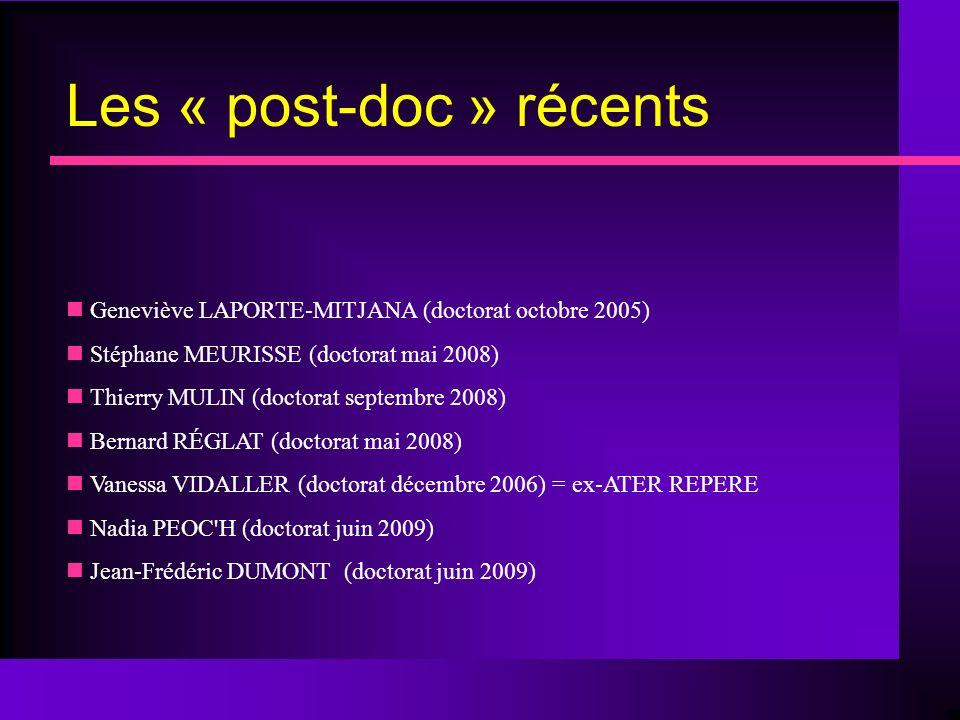 Les « post-doc » récents Geneviève LAPORTE-MITJANA (doctorat octobre 2005) Stéphane MEURISSE (doctorat mai 2008) Thierry MULIN (doctorat septembre 2008) Bernard RÉGLAT (doctorat mai 2008) Vanessa VIDALLER (doctorat décembre 2006) = ex-ATER REPERE Nadia PEOC H (doctorat juin 2009) Jean-Frédéric DUMONT (doctorat juin 2009)