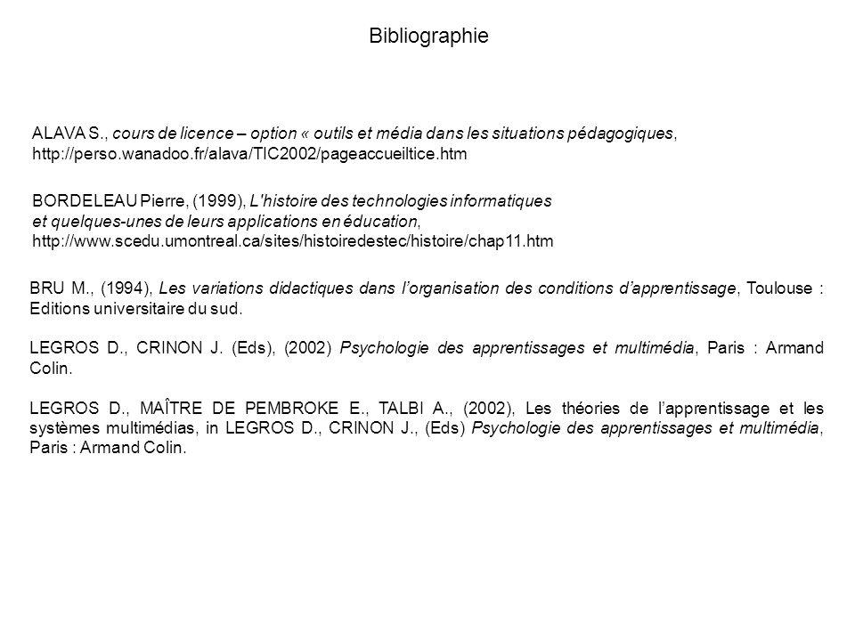 Bibliographie BRU M., (1994), Les variations didactiques dans lorganisation des conditions dapprentissage, Toulouse : Editions universitaire du sud. L