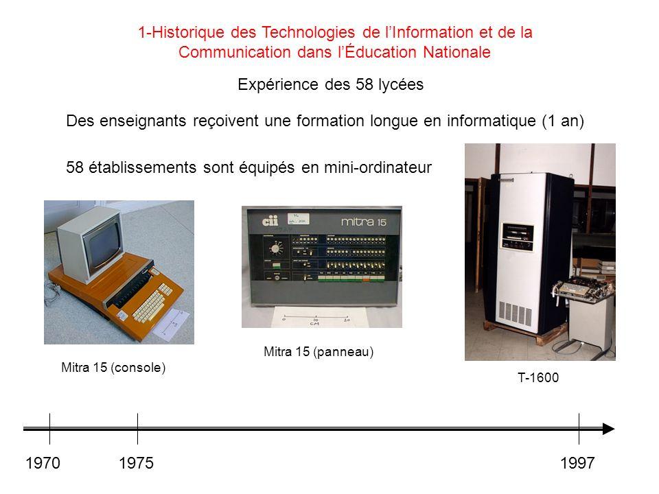 Expérience des 58 lycées Des enseignants reçoivent une formation longue en informatique (1 an) 58 établissements sont équipés en mini-ordinateur 19701
