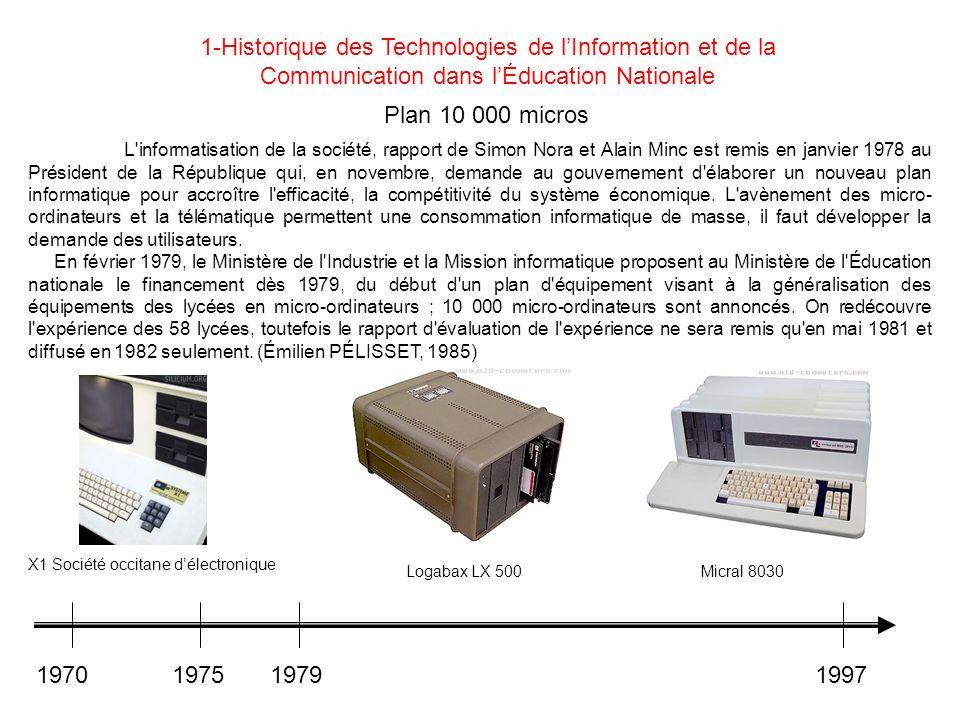 Plan 10 000 micros L'informatisation de la société, rapport de Simon Nora et Alain Minc est remis en janvier 1978 au Président de la République qui, e
