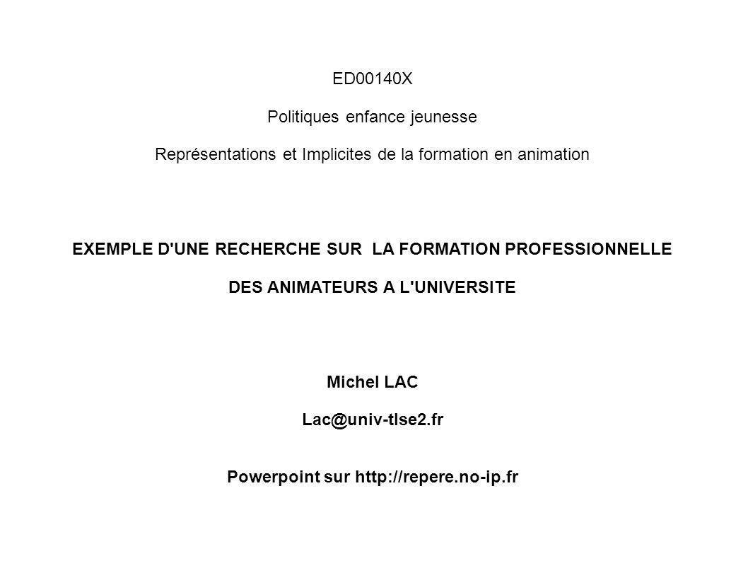 ED00140X Politiques enfance jeunesse Représentations et Implicites de la formation en animation EXEMPLE D'UNE RECHERCHE SUR LA FORMATION PROFESSIONNEL