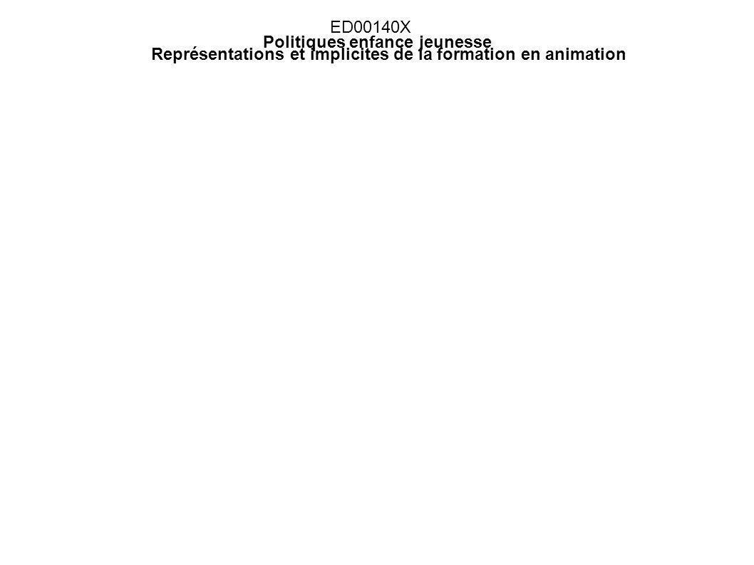 ED00140X Politiques enfance jeunesse Représentations et implicites de la formation en animation