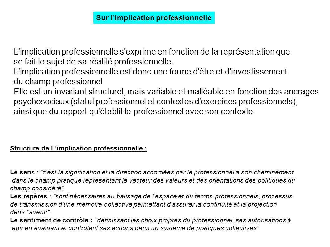 L'implication professionnelle s'exprime en fonction de la représentation que se fait le sujet de sa réalité professionnelle. L'implication professionn