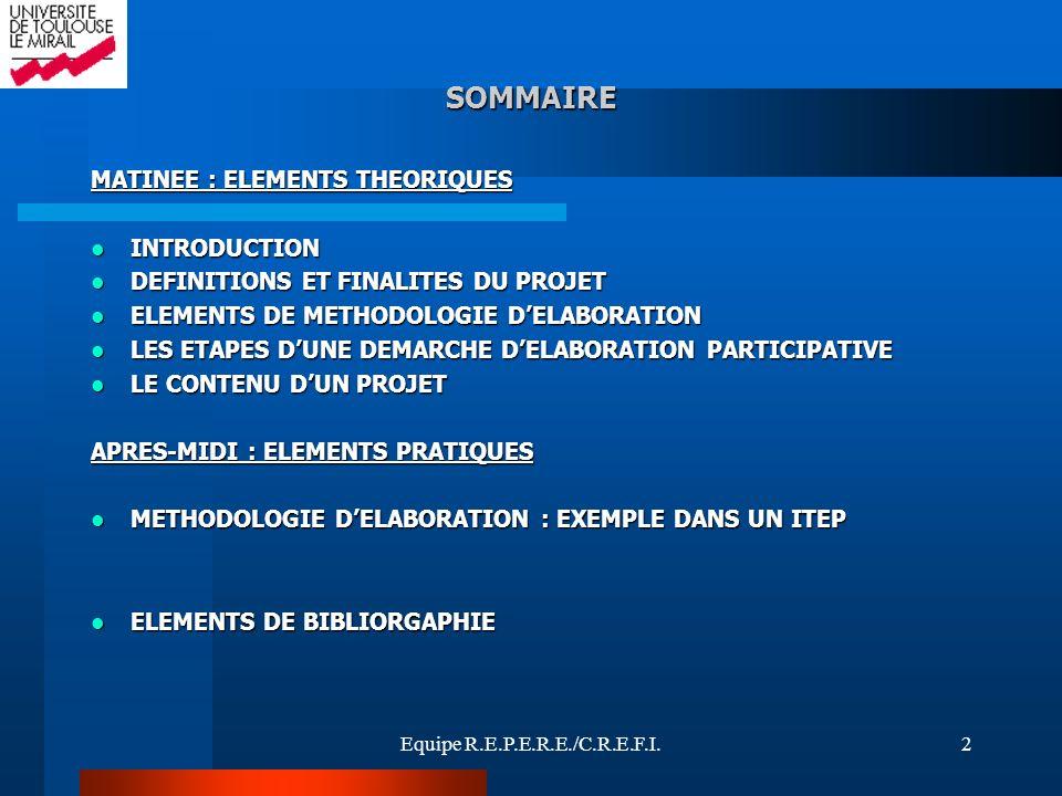 Equipe R.E.P.E.R.E./C.R.E.F.I.2 SOMMAIRE MATINEE : ELEMENTS THEORIQUES INTRODUCTION INTRODUCTION DEFINITIONS ET FINALITES DU PROJET DEFINITIONS ET FIN