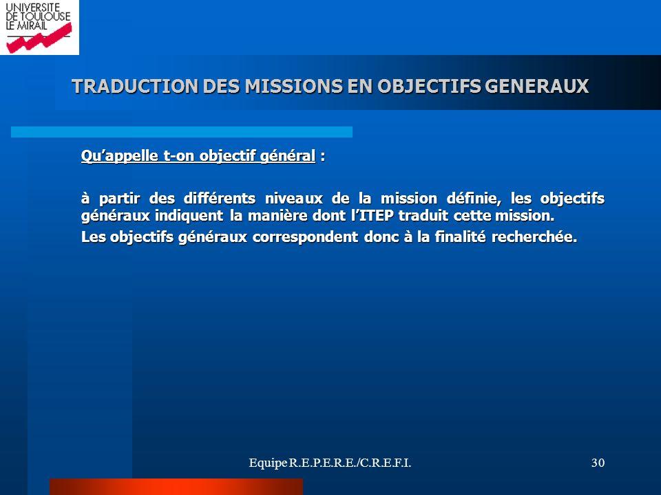 Equipe R.E.P.E.R.E./C.R.E.F.I.30 TRADUCTION DES MISSIONS EN OBJECTIFS GENERAUX Quappelle t-on objectif général : à partir des différents niveaux de la