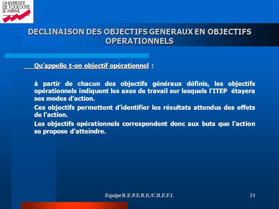 Equipe R.E.P.E.R.E./C.R.E.F.I.33 DECLINAISON DES OBJECTIFS GENERAUX EN OBJECTIFS OPERATIONNELS Quappelle t-on objectif opérationnel Quappelle t-on obj
