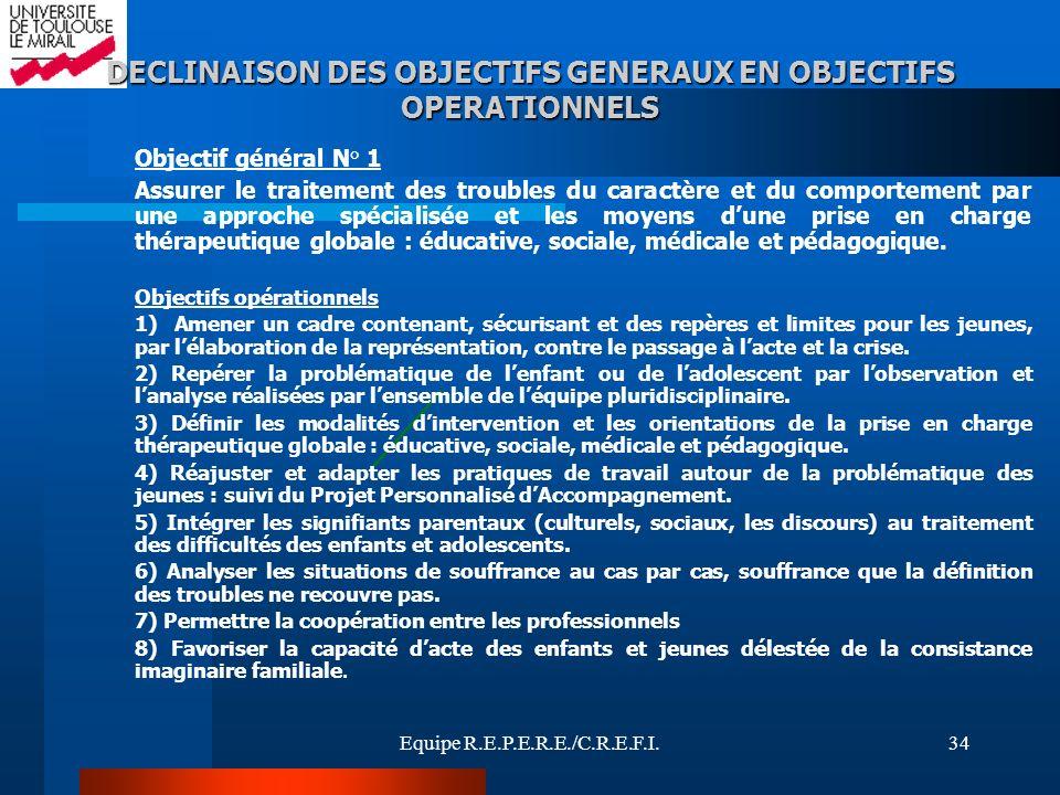 Equipe R.E.P.E.R.E./C.R.E.F.I.34 DECLINAISON DES OBJECTIFS GENERAUX EN OBJECTIFS OPERATIONNELS Objectif général N° 1 Assurer le traitement des trouble
