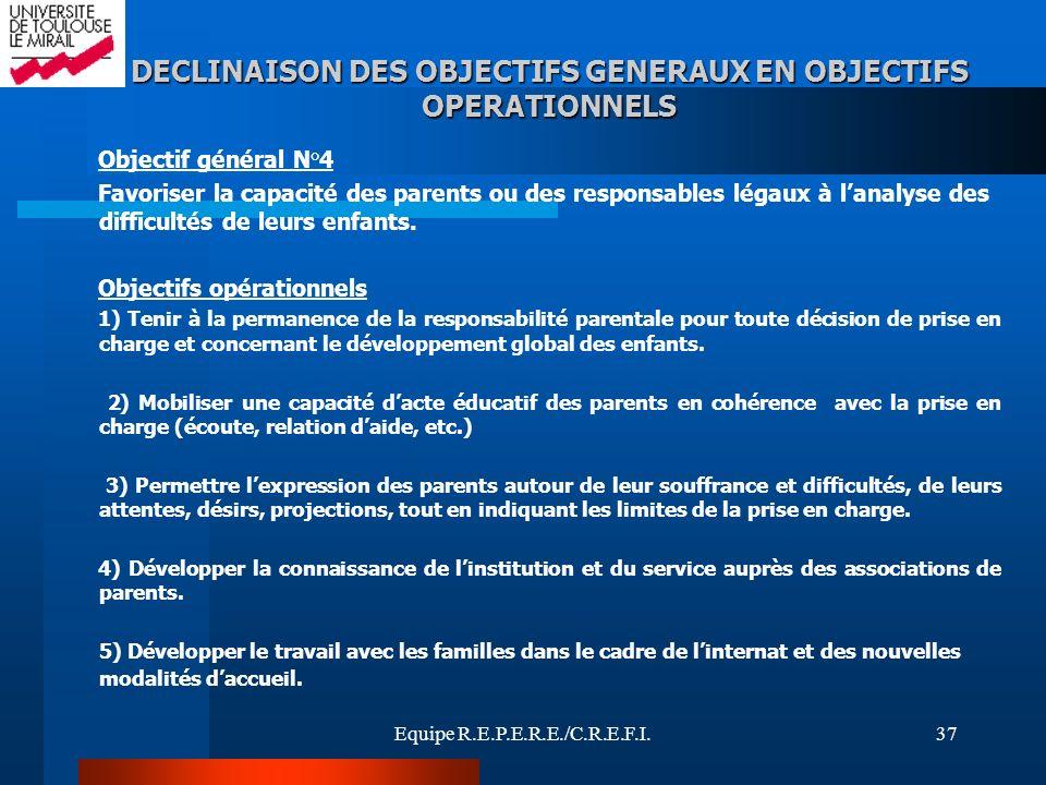 Equipe R.E.P.E.R.E./C.R.E.F.I.37 Objectif général N°4 Favoriser la capacité des parents ou des responsables légaux à lanalyse des difficultés de leurs
