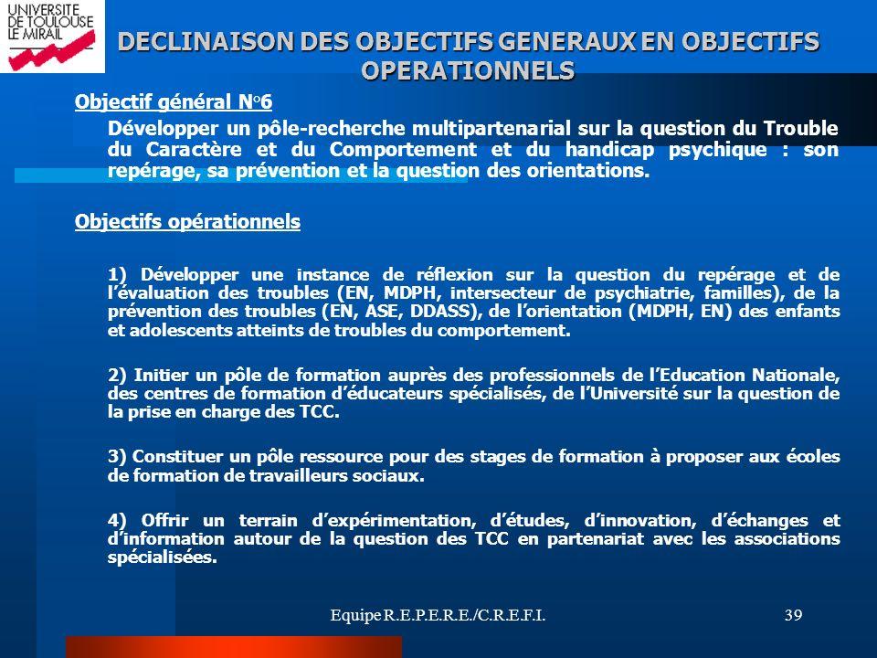 Equipe R.E.P.E.R.E./C.R.E.F.I.39 Objectif général N°6 Développer un pôle-recherche multipartenarial sur la question du Trouble du Caractère et du Comp