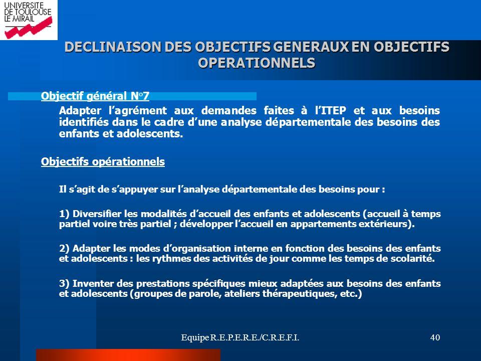 Equipe R.E.P.E.R.E./C.R.E.F.I.40 Objectif général N°7 Adapter lagrément aux demandes faites à lITEP et aux besoins identifiés dans le cadre dune analy