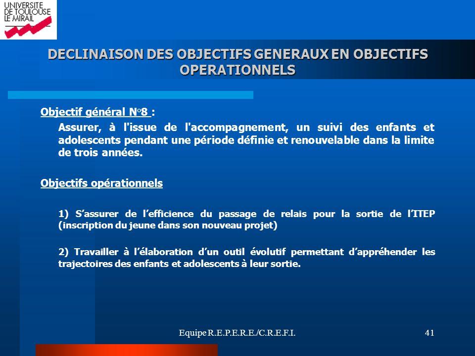 Equipe R.E.P.E.R.E./C.R.E.F.I.41 Objectif général N°8 : Assurer, à l'issue de l'accompagnement, un suivi des enfants et adolescents pendant une périod