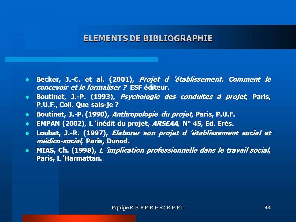 Equipe R.E.P.E.R.E./C.R.E.F.I.44 ELEMENTS DE BIBLIOGRAPHIE Becker, J.-C. et al. (2001), Projet d établissement. Comment le concevoir et le formaliser