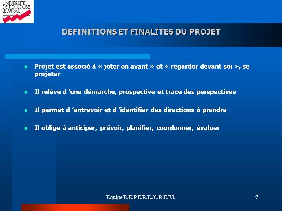 Equipe R.E.P.E.R.E./C.R.E.F.I.7 Projet est associé à « jeter en avant » et « regarder devant soi », se projeter Il relève d une démarche, prospective