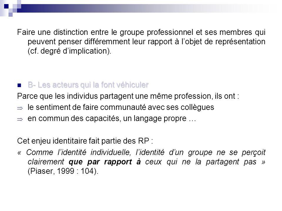 Faire une distinction entre le groupe professionnel et ses membres qui peuvent penser différemment leur rapport à lobjet de représentation (cf.