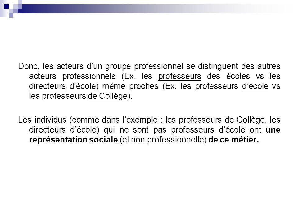 Donc, les acteurs dun groupe professionnel se distinguent des autres acteurs professionnels (Ex.