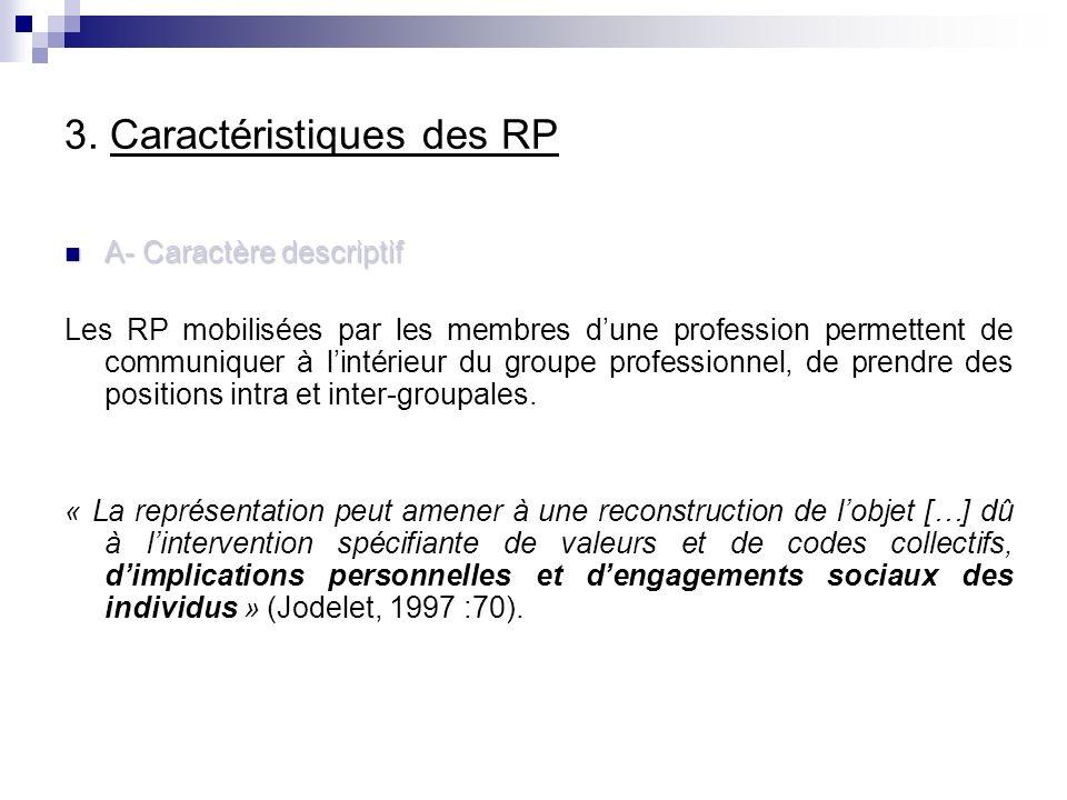 3. Caractéristiques des RP A- Caractère descriptif A- Caractère descriptif Les RP mobilisées par les membres dune profession permettent de communiquer