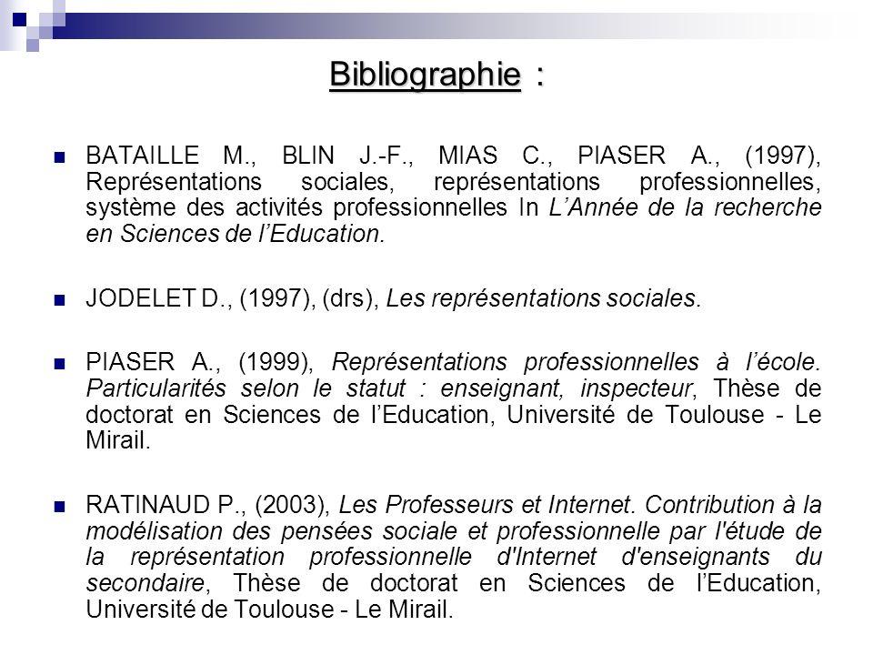 Bibliographie : BATAILLE M., BLIN J.-F., MIAS C., PIASER A., (1997), Représentations sociales, représentations professionnelles, système des activités professionnelles In LAnnée de la recherche en Sciences de lEducation.