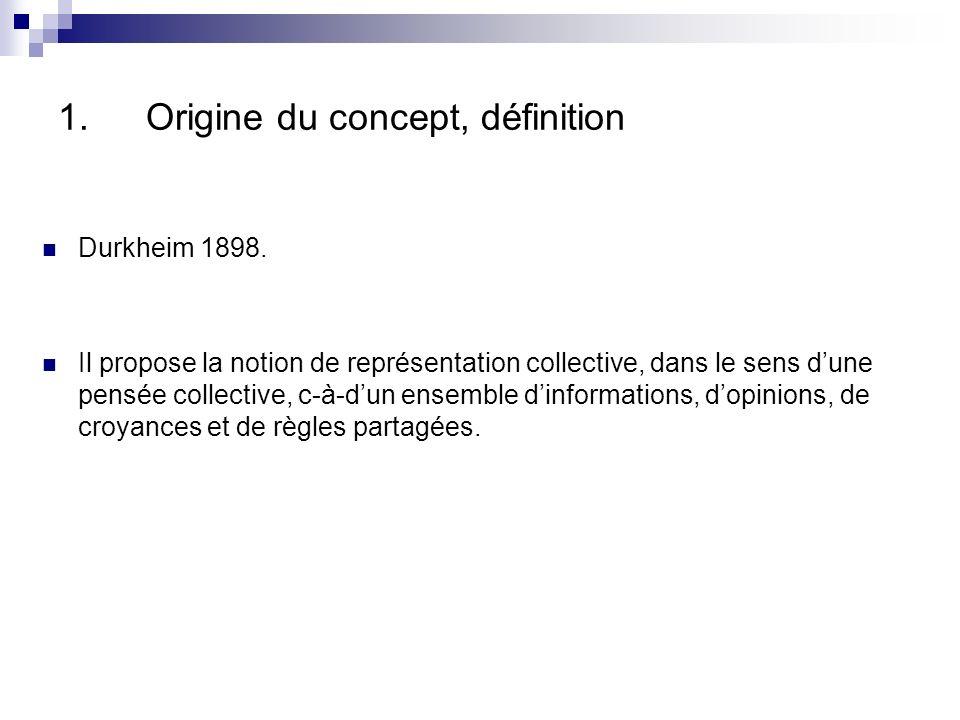 1.Origine du concept, définition Durkheim 1898.