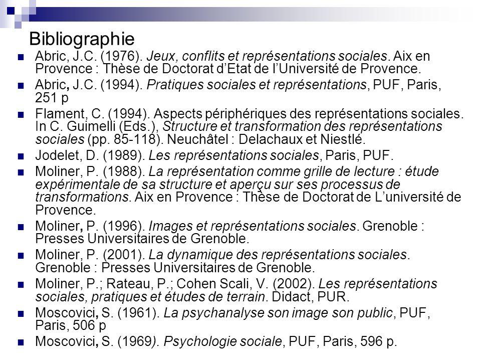Bibliographie Abric, J.C.(1976). Jeux, conflits et représentations sociales.