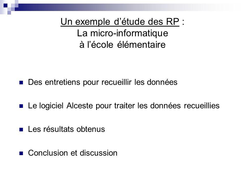 Un exemple détude des RP : La micro-informatique à lécole élémentaire Des entretiens pour recueillir les données Le logiciel Alceste pour traiter les données recueillies Les résultats obtenus Conclusion et discussion