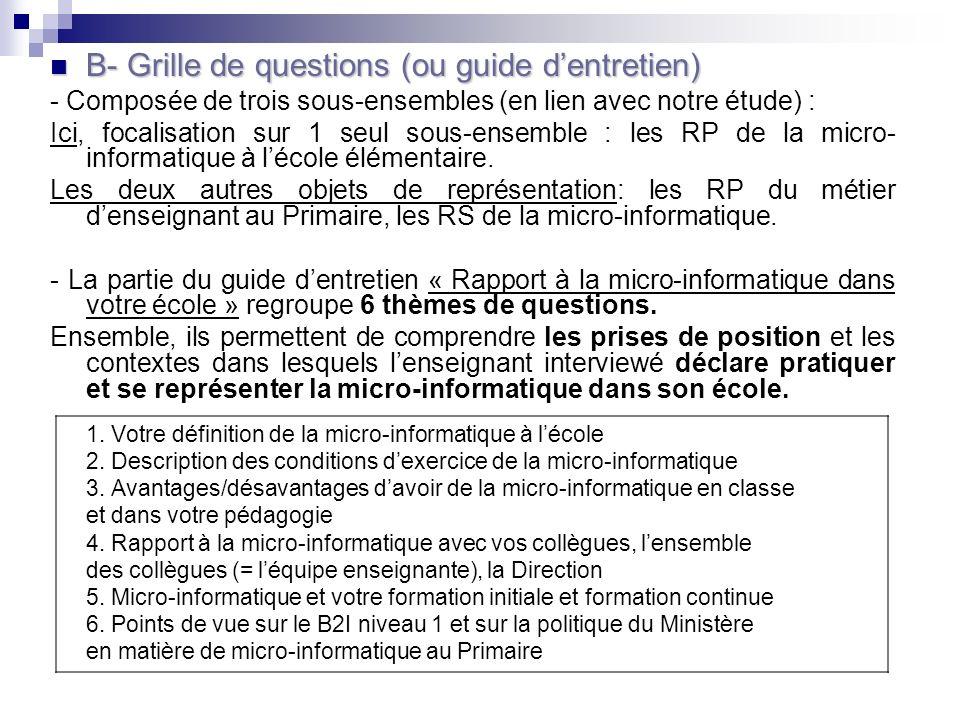 B- Grille de questions (ou guide dentretien) B- Grille de questions (ou guide dentretien) - Composée de trois sous-ensembles (en lien avec notre étude) : Ici, focalisation sur 1 seul sous-ensemble : les RP de la micro- informatique à lécole élémentaire.