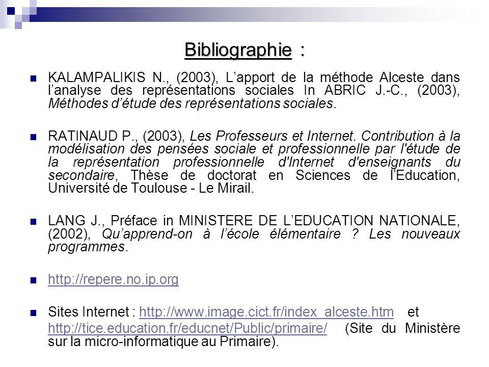 Bibliographie : KALAMPALIKIS N., (2003), Lapport de la méthode Alceste dans lanalyse des représentations sociales In ABRIC J.-C., (2003), Méthodes détude des représentations sociales.