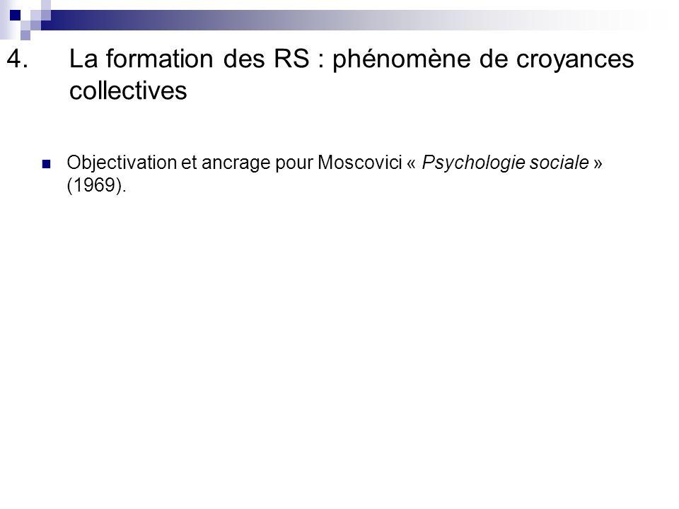 4.La formation des RS : phénomène de croyances collectives Objectivation et ancrage pour Moscovici « Psychologie sociale » (1969).