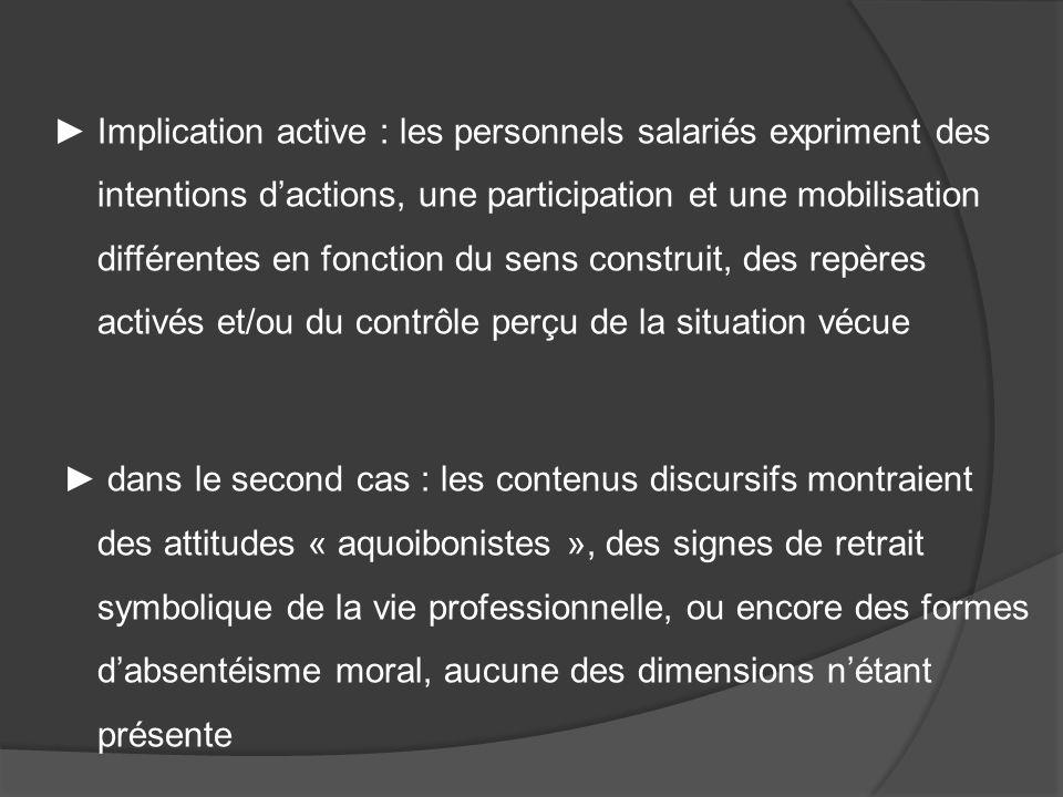 Implication active : les personnels salariés expriment des intentions dactions, une participation et une mobilisation différentes en fonction du sens
