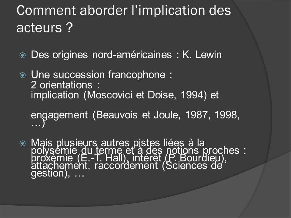 Comment aborder limplication des acteurs ? Des origines nord-américaines : K. Lewin Une succession francophone : 2 orientations : implication (Moscovi
