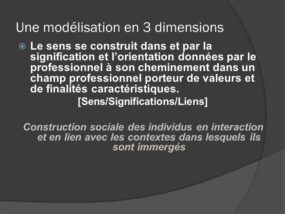 Une modélisation en 3 dimensions Le sens se construit dans et par la signification et lorientation données par le professionnel à son cheminement dans