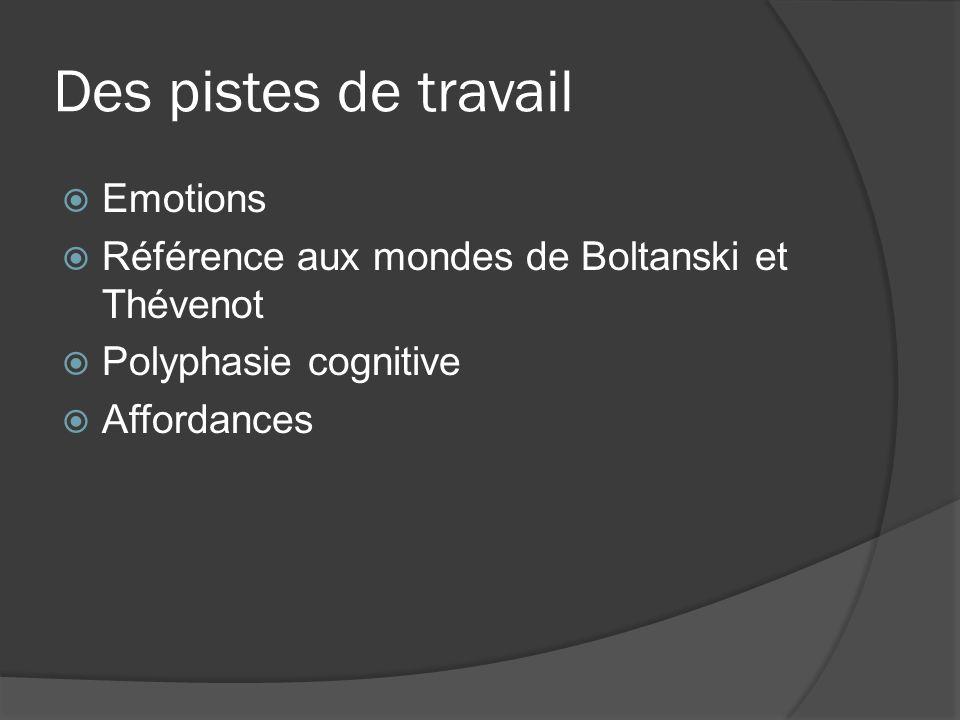 Des pistes de travail Emotions Référence aux mondes de Boltanski et Thévenot Polyphasie cognitive Affordances