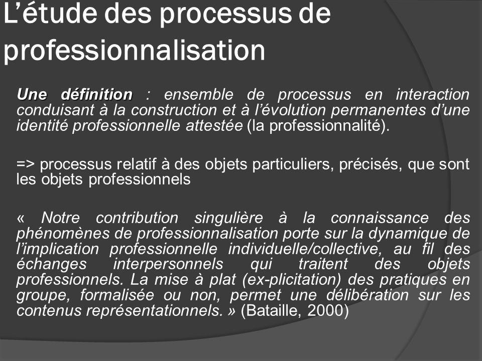 Létude des processus de professionnalisation Une définition Une définition : ensemble de processus en interaction conduisant à la construction et à lé