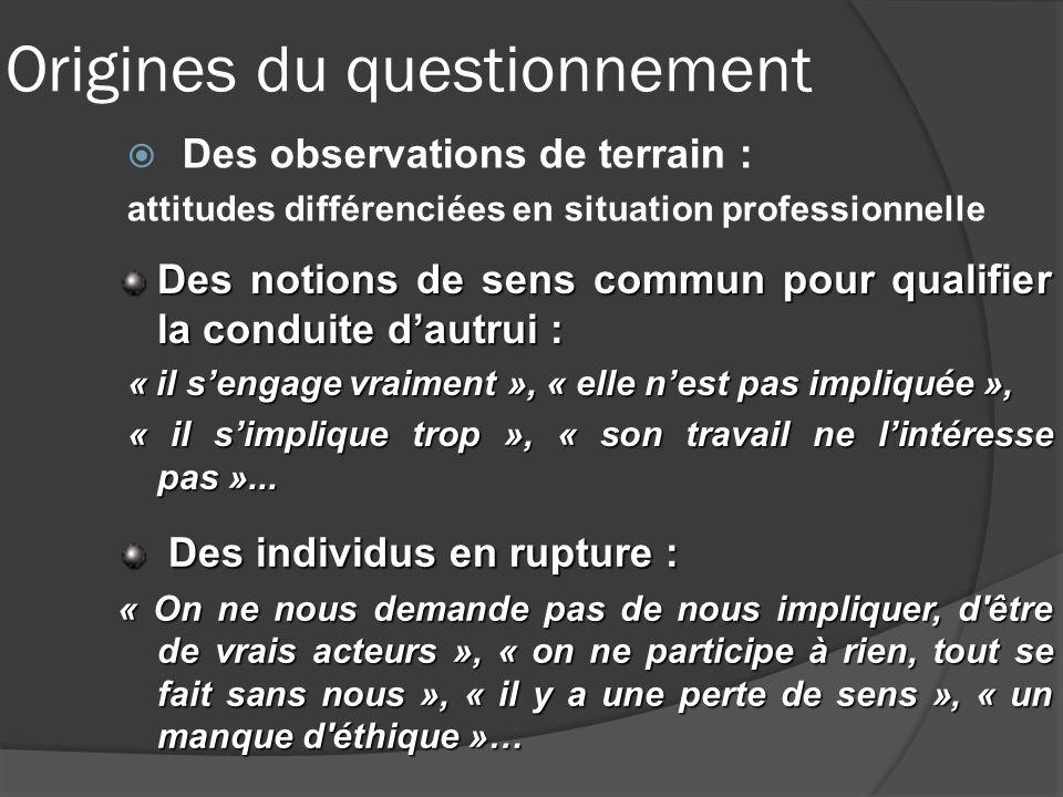 Origines du questionnement Des observations de terrain : attitudes différenciées en situation professionnelle Des notions de sens commun pour qualifie