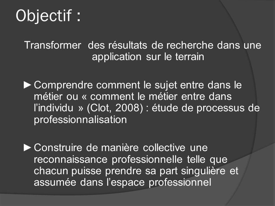 Objectif : Transformer des résultats de recherche dans une application sur le terrain Comprendre comment le sujet entre dans le métier ou « comment le