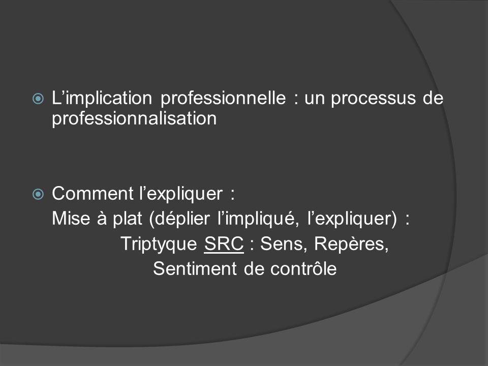 Limplication professionnelle : un processus de professionnalisation Comment lexpliquer : Mise à plat (déplier limpliqué, lexpliquer) : Triptyque SRC :