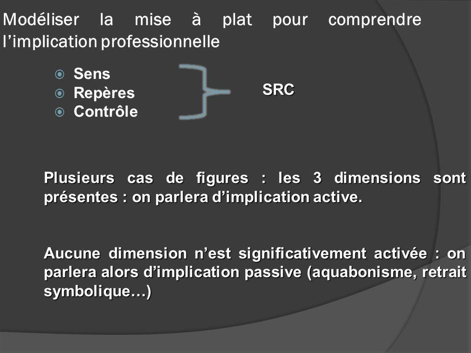 Modéliser la mise à plat pour comprendre limplication professionnelle Sens Repères Contrôle SRC Plusieurs cas de figures : les 3 dimensions sont prése