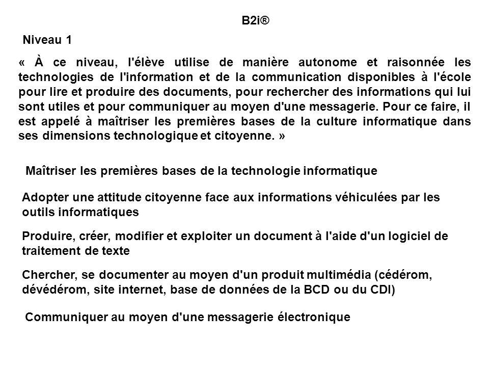 Espaces numériques de travail, http://www2.educnet.education.fr/services/ent/ B2i : http://www.educnet.education.fr/textes/reglementaires/b2i.htm http://www2.educnet.education.fr/sections/primaire/tic_primaire/b2i_primaire/ C2i, http://www2.educnet.education.fr/sections/formation/c2i-etud/ http://c2i.education.fr/index.htm Espaces Numériques des Savoirs, http://www.educnet.education.fr/ENS/projet.htm Bibliographie