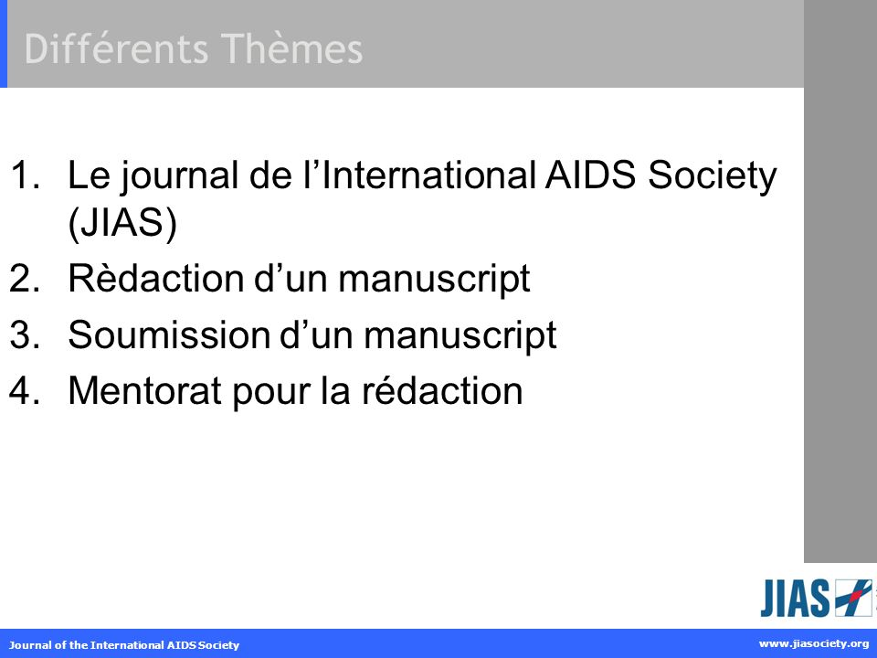 www.jiasociety.org Journal of the International AIDS Society Table: example